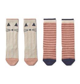 Liewood Sofia Knee Socks 2 Pack - Cat/stripe coral blush