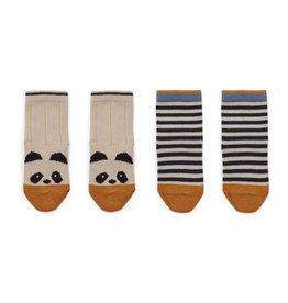 Liewood Silas Cotton Socks 2 Pack - Panda/stripe ecru