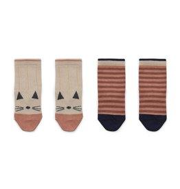 Liewood Silas Cotton Socks 2 Pack - Cat/stripe coral blush