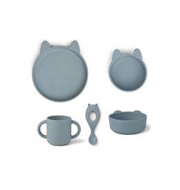 Liewood Vivi Silicone Tableware 4 pack - Baby - Rabbit sea blue