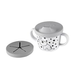 Done by Deer Silicone spout/snack cup Elphee Grey