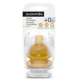 Suavinex Teat - Latex - Round - 3pos. - +0M (2pcs)