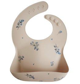 Mushie Silicone Baby Bib (Lilac Flowers)
