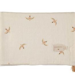 Nobodinoz Treasure summer Blanket 100 x 70 Haiku birds natural
