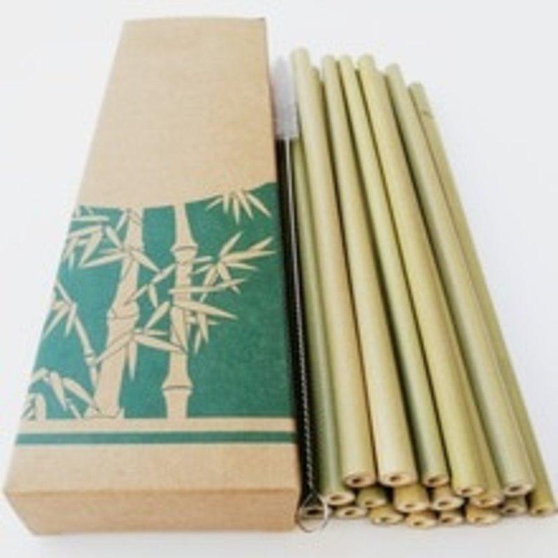 Bamboe Rietjes set van 10 + reinigingsborsteltje