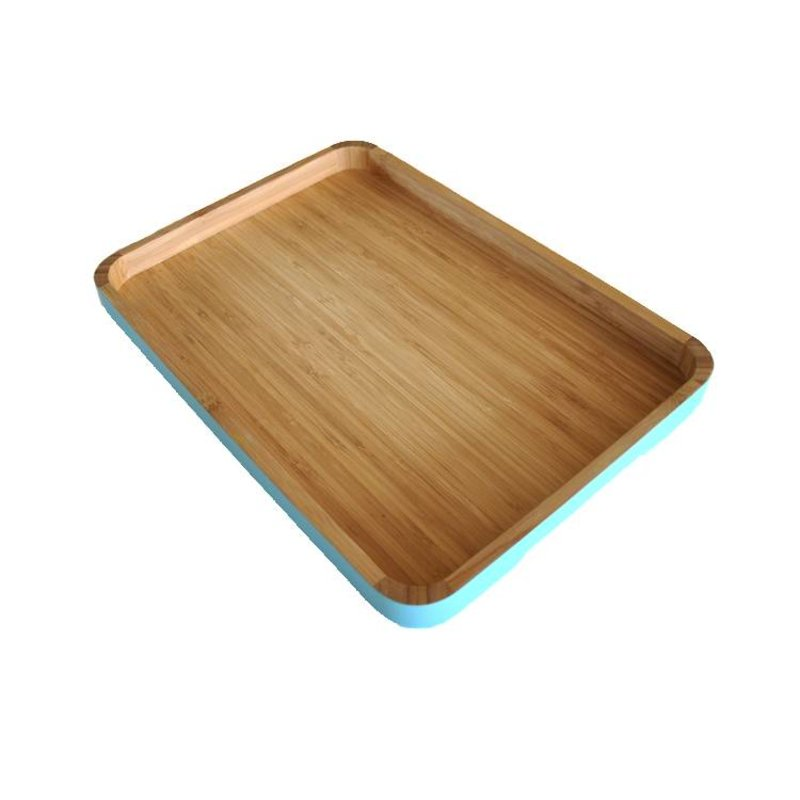 Bamboe Dienblad Rond Turquoise