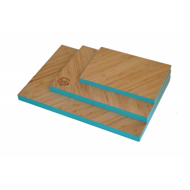 Bamboe Snijplank Diagonaal met Turquoise Rand Klein