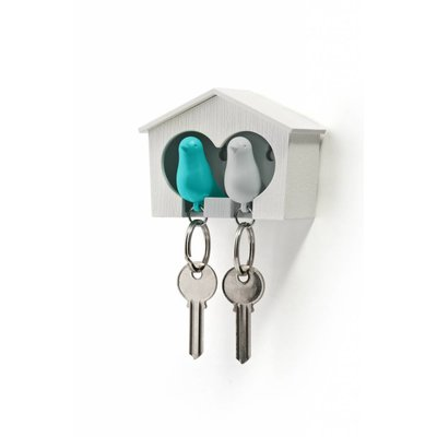 Sleutelhanger Vogelhuisje Duo Wit-Turquoise