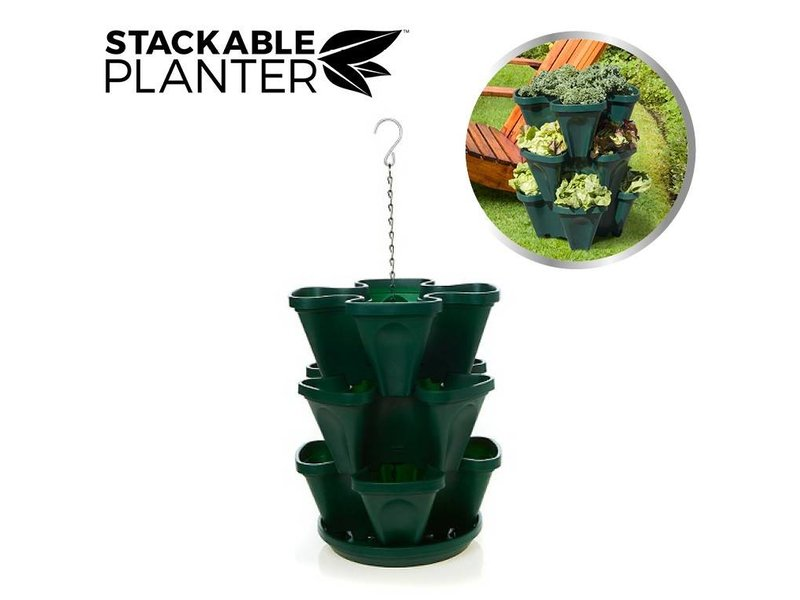Stackable Planter 3 pcs. Dark Green