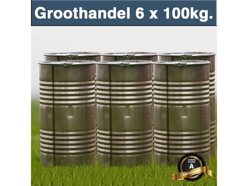 Pallet Carbid 6x 100 kilo in Hersluitbare Ton