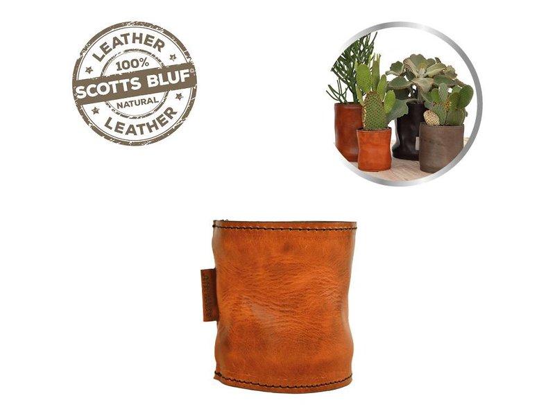 Scotts Bluf Lederen bloempot Cognac 28 Size M
