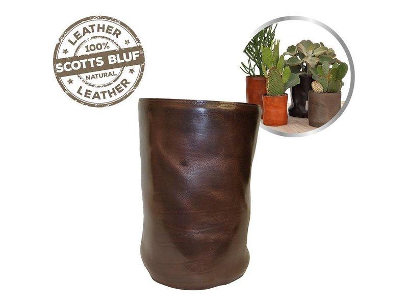 Scotts Bluf Lederen bloempot Dark Brown Size M