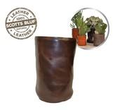 Scotts Bluf Lederen bloempot Dark Brown Size L