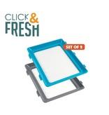 Click & fresh - Plate - 2 set- Blue/Grey
