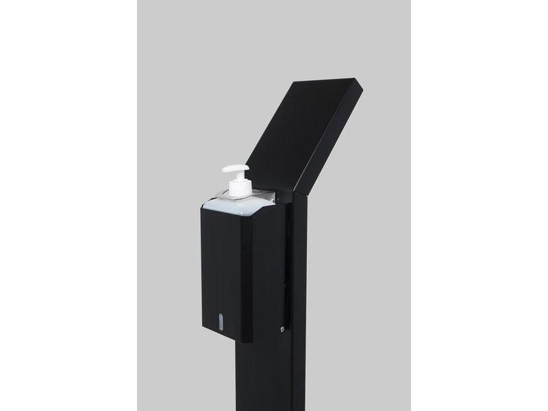 RVS Dispenserpaal Zwart incl. literfles dispenser