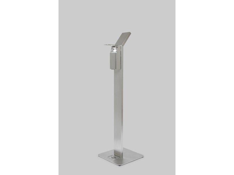 RVS Dispenserpaal met elleboog bediening incl. literfles dispenser