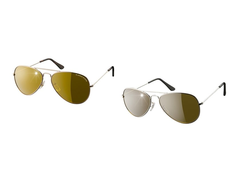 Eagle Eyes Aviator Sunglasses set of 2 - Silver/Gold