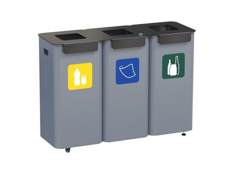 ALDA Eco Modular Bin 3x70L - Green - Blue - Yellow