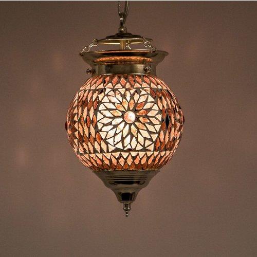 Hanglamp bol 15cm paars/roze mozaïek