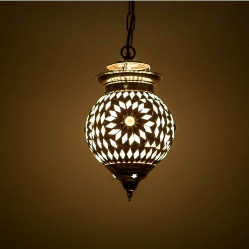 Hanglamp bol 15cm zwart/wit mozaïek
