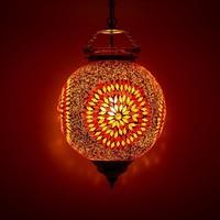 Hanglamp bol 25cm rood/oranje mozaïek