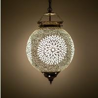 Hanglamp bol 25cm transparant mozaïek