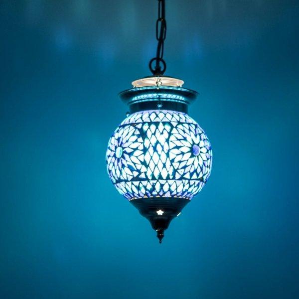 Hanglamp bol 15cm blauw mozaïek