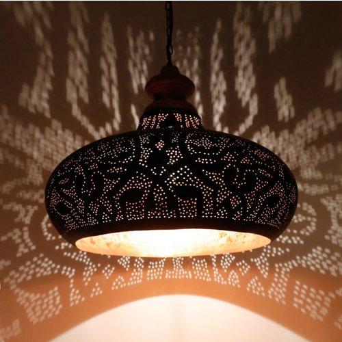 Hanglamp Ameera zwart/goud wood
