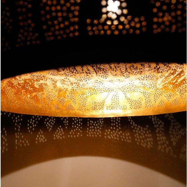 Filigrain hanglamp hout zwart/goud