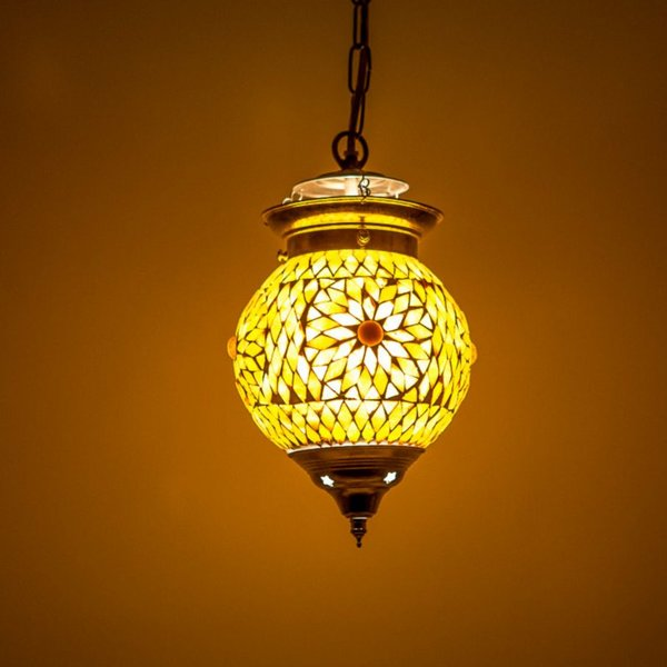 Hanglamp bol 15cm bruin/beige mozaïek