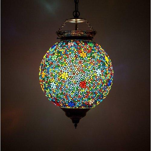 Hanglamp bol 25cm gekleurd mozaïek