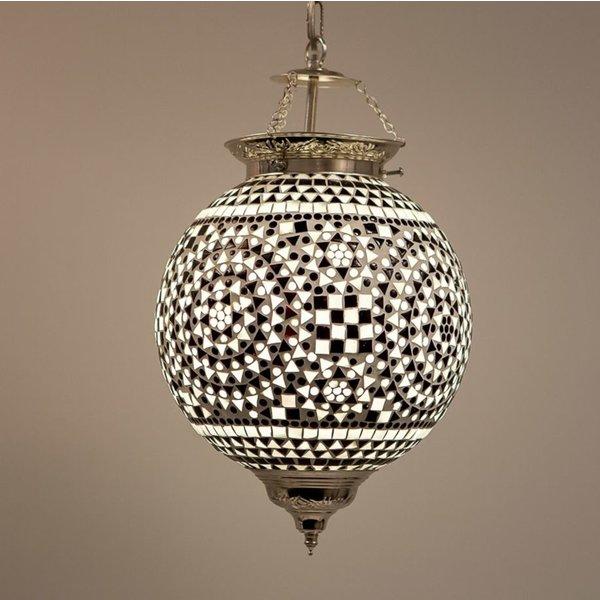 Hanglamp bol 25cm zwart/wit mozaïek
