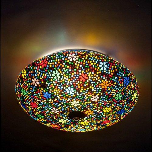 Plafondlamp 38cm gekleurd mozaiek