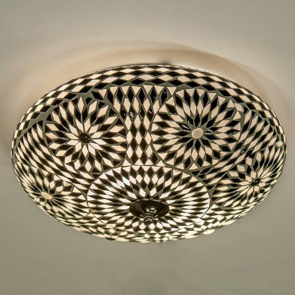 Plafondlamp 38cm zwart/wit mozaiek