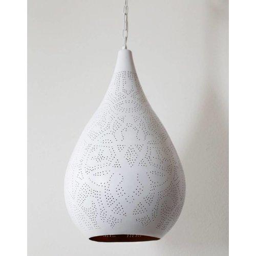 Hanglamp Ameera wit/goud druppel