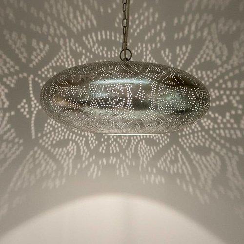 Filigrain hanglamp vintage zilver