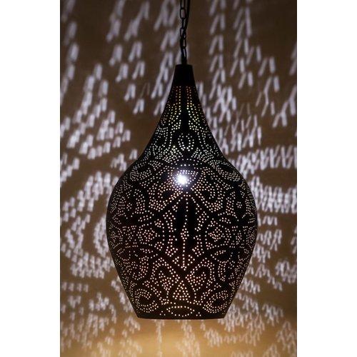 Hanglamp Ameera zwart/goud vaas