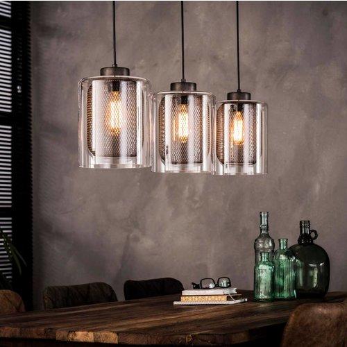 Hanglamp 3xØ20 raster glas + 3 led gloeilampen cadeau