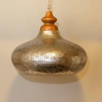 Filigrain hanglamp hout in zilver/zilver
