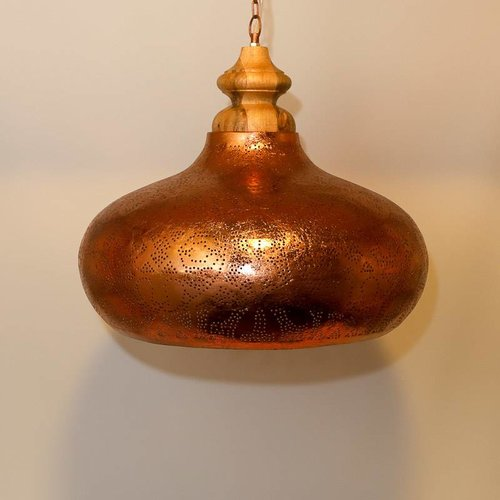 Hanglamp Ameera koper wood