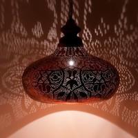Filigrain hanglamp groot vintage koper