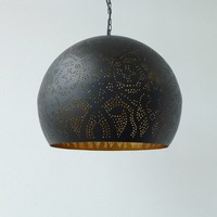 Filigrain hanglamp zwart/goud met 2 bijpassende waxinelichtjes cadeau!