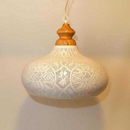 Hanglamp Ameera wit/goud wood