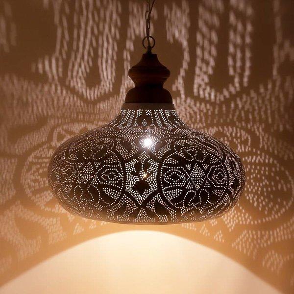 Filigrain hanglamp groot wit/goud