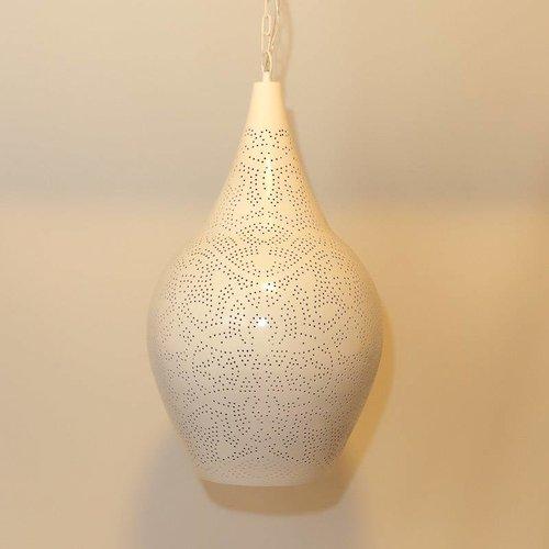 Hanglamp Ameera wit/goud vaas