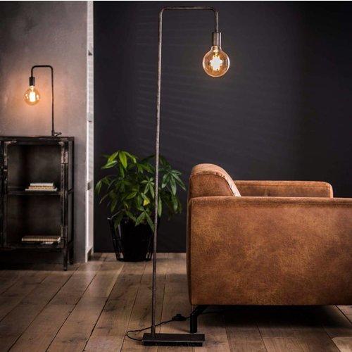 Industriele vloerlamp ranke gebogen poot + led gloeilamp cadeau