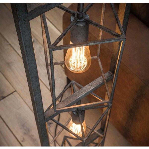 Industrieel vloerlamp Bennet + 4 led gloeilampen cadeau