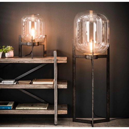Industriele vloerlamp glas support + led gloeilamp cadeau