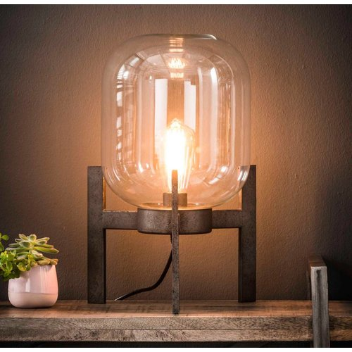 Industriele tafellamp glas support + led gloeilamp cadeau