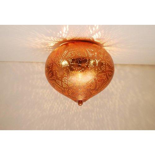 Oosterse plafondlamp filigrain koper